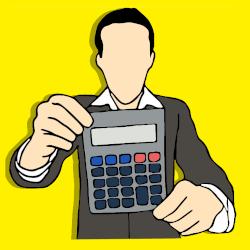Grafika prezentująca człowieka z kalkulatorem